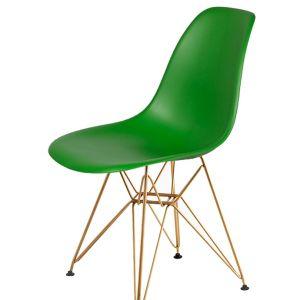 Krzesło DSR GOLD irlandzka zieleń.21 - podstawa metalowa złota